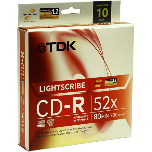 TDK CD-R 52X 80 Minute, LightScribe Printable Recordable Disc (Spindle Box  of 10)