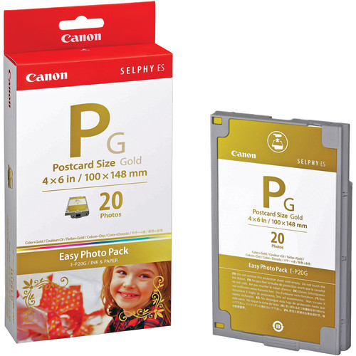 "Canon EP20G E-P20G Ribbon 4""x6"" 20 Sheets + Gold Ink"