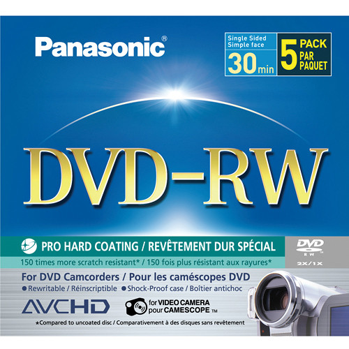 Panasonic 5-Pack Single-Sided 1 4GB 8cm DVD-RW for DVD Camcorders