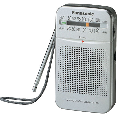 Silver// Genuine Panasonic RF-P50 Pocket Radio Portable AM//FM 2-Band Receiver