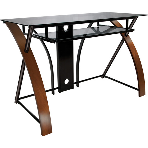 Bell'O (CD8841) Computer Desk with Curved Wood Sides
