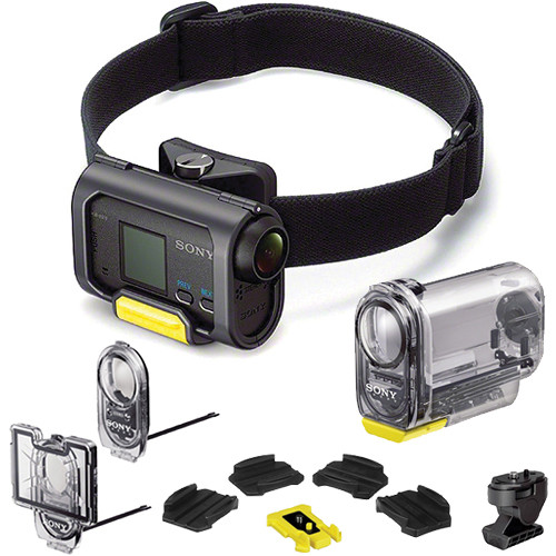 Sony Hdr As15 With Waterproof Skeleton Housings And Headband