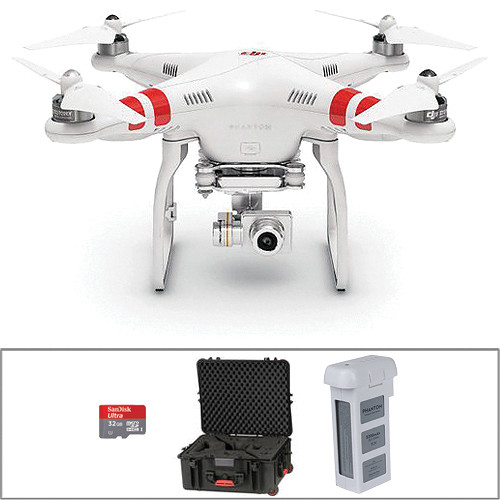 DJI Phantom 2 Vision+ 2 0 Quadcopter with Wheeled Case & Extra Battery  Bundle