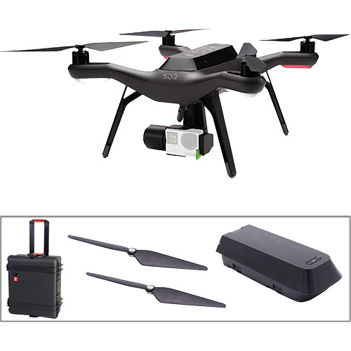 3DR Solo Quadcopter with 3-Axis Gimbal, Spare Battery, Spare Props, and  Hard Case with Wheels