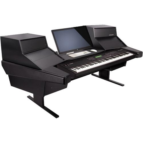 Argosy (D15K-DR847-B-B) Dual 15K Keyboard Workstation Desk with DR847 12 Front RU & 7 Rear RU (Black Finish)