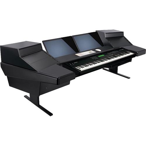 Argosy (D15KL-DR825-B-B) Dual 15KL Keyboard Workstation Desk with DR825 10 Front RU & 5 Rear RU (Black)