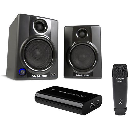 Elgato Game Capture HD with Samson Microphone & M-Audio Speakers Kit