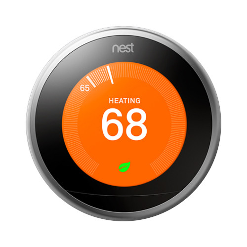 Google Nest Learning Thermostat (3rd Generation, Stainless Steel) on
