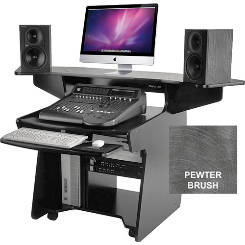 Omnirax (CODA-PB) CODA Mixing/Digital Editing Workstation Desk (8 RU, Pewter Brush Formica)