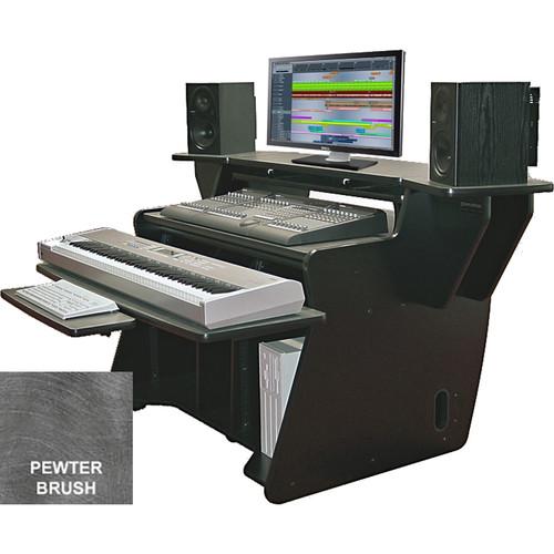 Omnirax (NT2-PB) NT2 Keyboard Composing / Mixing Workstation with Sliding Monitor Bridge (Pewter Brush Formica)