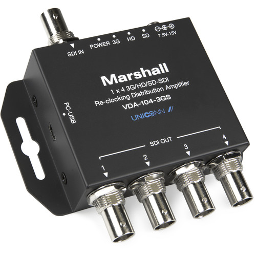 Marshall Electronics VDA-104-3GS 1x4 3G/HD/SD-SDI Reclocking Distribution Amplifier