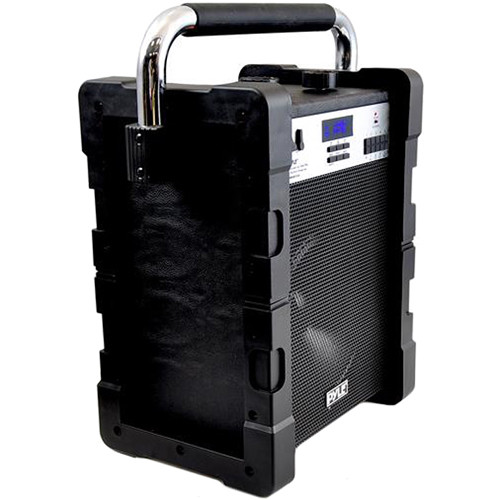"""Pyle Pro Jobsite 8W 8"""" Bluetooth Portable Speaker System with  Rechargeable Battery (Black)"""