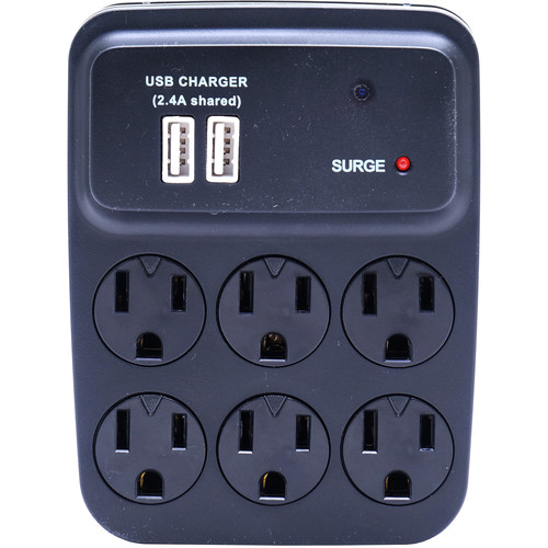 (BBWIFIOUTLET-BLACK) Bush Baby 6-Outlet Power Adapter with Covert 1080p Wi-Fi Camera (Black)