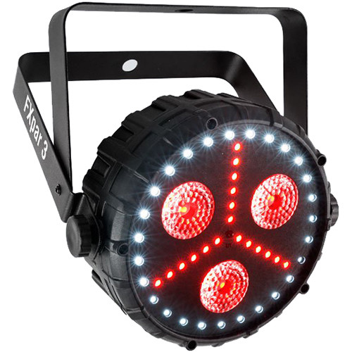 Chauvet DJ FXpar 3 Compact Effect Par w/ 3 8W Quad-color (RGB+UV) center LEDs, RGB SMD LED lights & SMD strobes