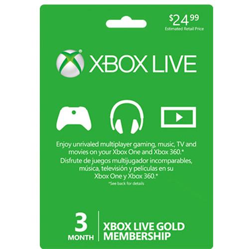 Microsoft Xbox Live 3-Month Gold Membership Card
