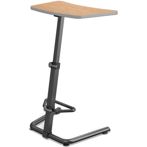 Balt (90532-7928-PL) Up-Rite Height Adjustable Sit/Stand Desk (Castle Oak Finish, Platinum Edge)