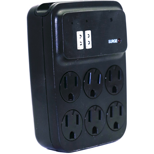 Bush Baby (BBSOUTLET-BLACK) Stealth 6-Outlet Wall Tap with 1920 x 1080 Covert Camera (Black)