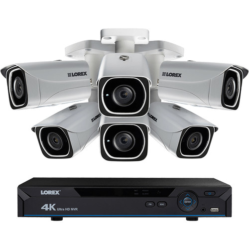 Lorex (LNR6826K) 8-Channel 4K UHD NVR with 2TB HDD and 6 4K Color Night Vision Network Bullet Cameras