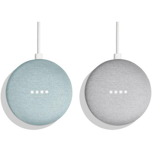 Google Home Mini Pair Kit (One Aqua, One Chalk)