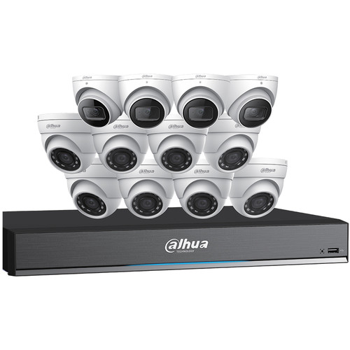 Dahua Technology (C7168E124) Pentabrid 16-Channel 8MP HD-CVI DVR with 4TB HDD, 4 8MP Turret Cameras & 8 5MP Turret Cameras