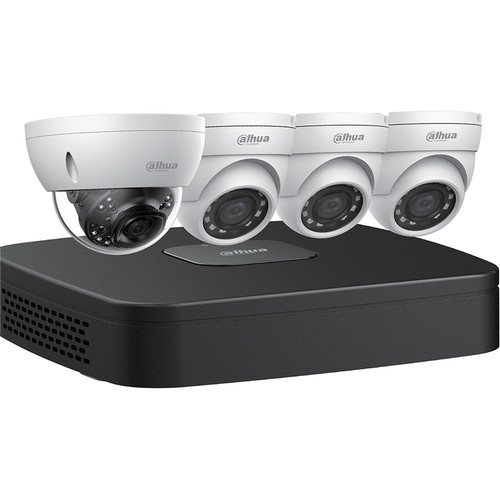 Dahua Technology (N448D42) 4-Channel 8MP NVR with 2TB HDD and 3 4MP Mini Turret Cameras and 1 8MP Dome Camera