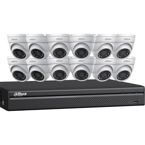 Dahua Technology (N5164E124) 16-Channel 12MP 4K ePoE NVR with 4TB HDD & 12 4MP Night Vision Mini Turret Cameras Kit