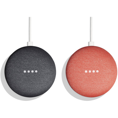 Google Home Mini Pair Kit (One Charcoal, One Coral)