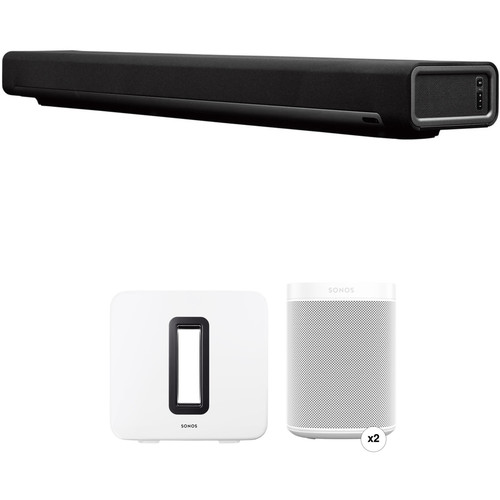 Sonos PLAYBAR Wireless Soundbar, Wireless Speaker Pair, and Wireless Subwoofer Kit (White)