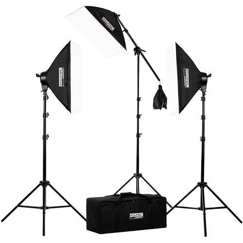 3-Point Classic Fluorescent Lighting Kit with Boom Arm and Case from Fovitec