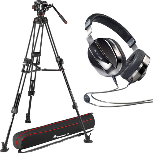 Manfrotto Video Head & Carbon Fiber Tripod with Spreader + Headphones