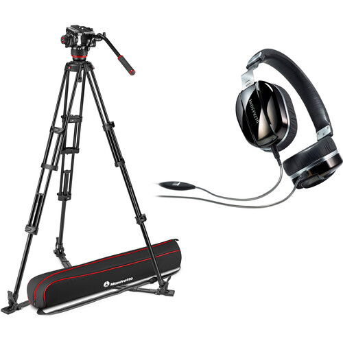 Manfrotto Aluminum Twin Leg Tripod with Ground Spreader + Headphones