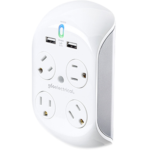 360 Electrical Revolve3.4 4-Rotating Outlet Surge Protector with 3.4A Dual USB Ports