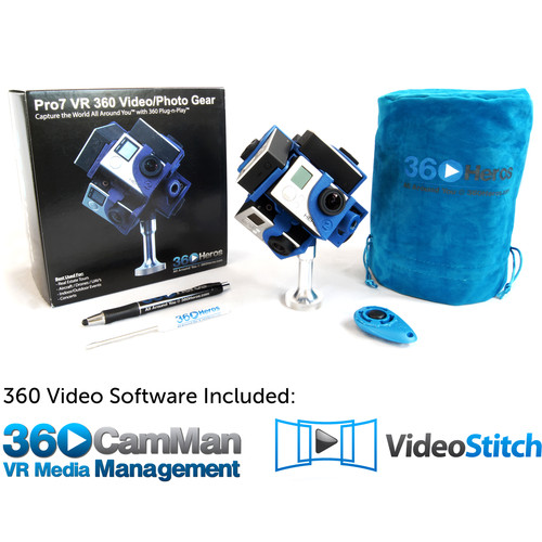 360RIZE Pro7 v2 360 Plug-n-Play Holder Kit with 360CamMan and Video-Stitch Studio
