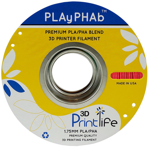3D Printlife PLAyPHAb 1.75mm PLA/PHA Filament (Red)