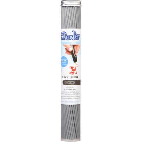 3Doodler FLEXY Single Color Plastic Pack (Silver, 100 Strands)