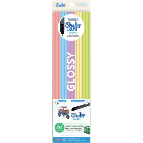 3Doodler PLA Mixed Color Filament Pack (Pretty Pastels, 25 Strands)