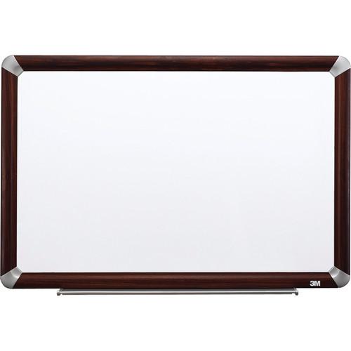 """3M M3624FMY 36 x 24"""" Melamine Dry Erase Board (Mahogany Finish Frame)"""