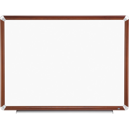 "3M P9648FMY 96 x 48"" Porcelain Dry Erase Board (Mahogany Frame with Aluminum Accents)"