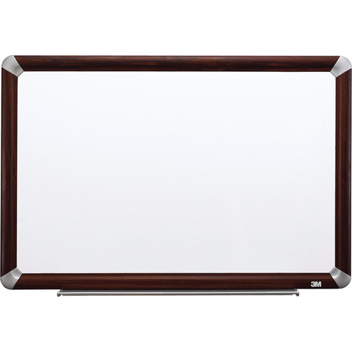 """3M M2418FMY 24 x 18"""" Melamine Dry Erase Board (Mahogany Finish Frame)"""
