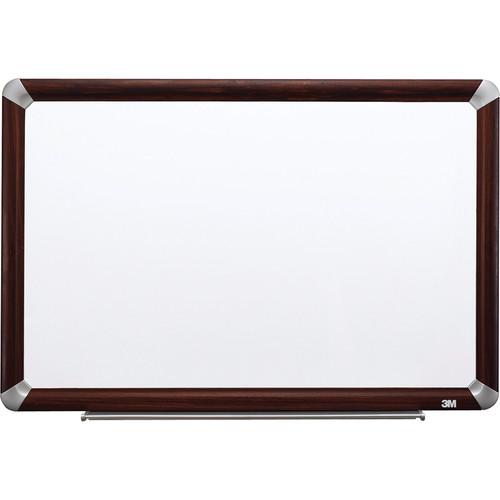 """3M M7248FMY 72 x 48"""" Melamine Dry Erase Board (Mahogany Finish Frame)"""