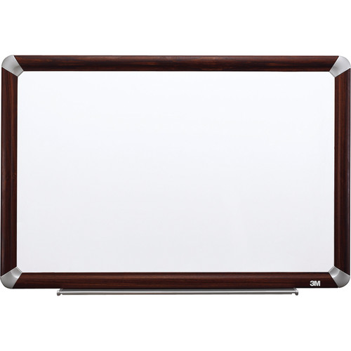 "3M M9648FMY 96 x 48"" Melamine Dry Erase Board (Mahogany Frame with Aluminum Accents)"