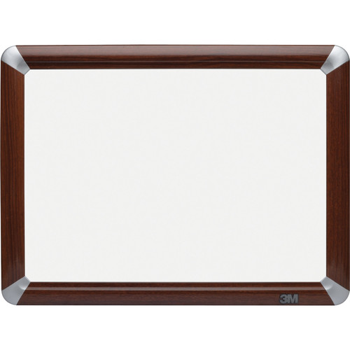 """3M DES1612FMY 16 x 12"""" Painted Steel Dry Erase Board (Mahogany Frame)"""