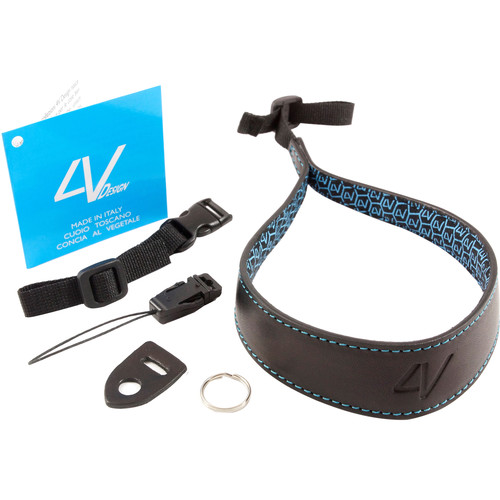 4V Design Ergo Large Leather Wrist Strap (Black/Cyan)
