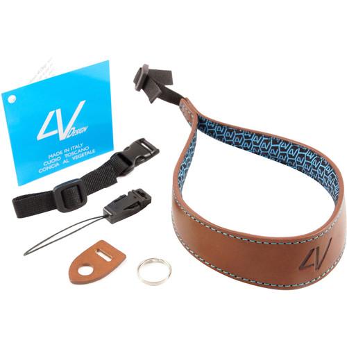 4V Design Ergo Large Leather Wrist Strap (Brown/Cyan)