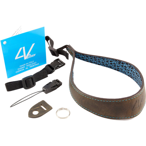 4V Design Ergo Large Leather Wrist Strap (Washed Green/Cyan)