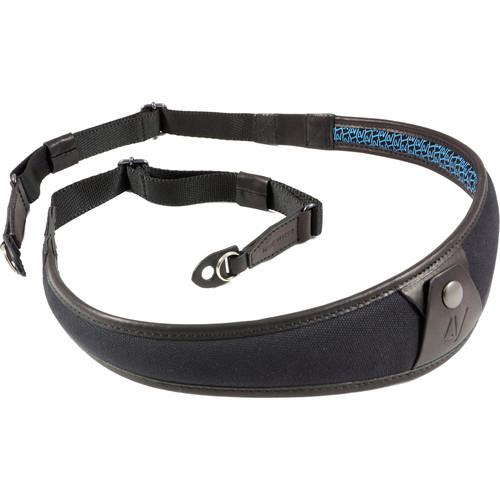 4V Design ALA Canvas and Leather Camera Neck Strap with Metal Ring (Black/Black)