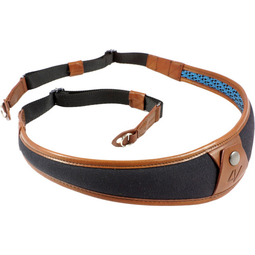 4V Design ALA Canvas and Leather Camera Neck Strap with Metal Ring (Black/Brown)