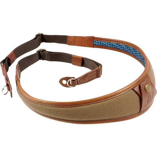 4V Design ALA Canvas and Leather Camera Neck Strap with Metal Ring (Brown/Brown)
