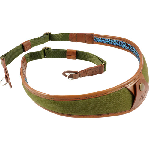 4V Design ALA Canvas and Leather Camera Neck Strap with Metal Ring (Green/Brown)