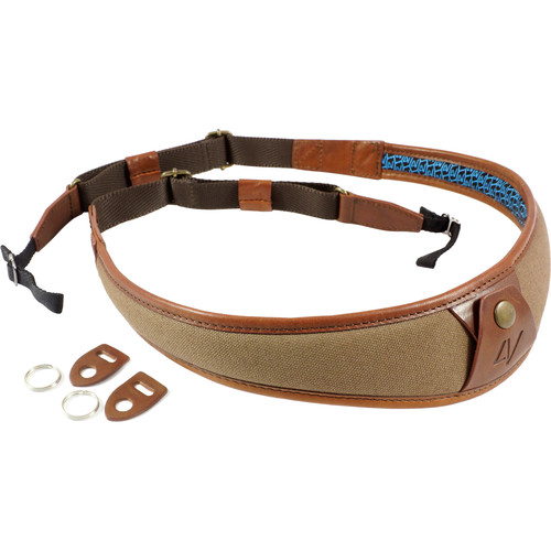 4V Design ALA Canvas and Leather Camera Neck Strap with Universal Fit (Brown/Brown)